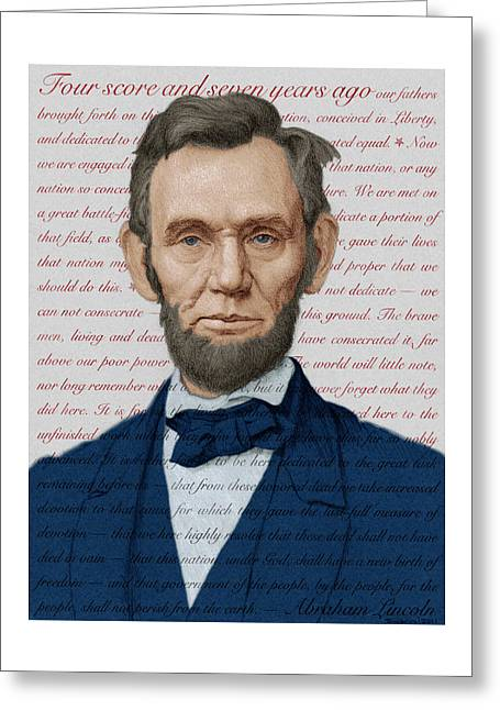 Abraham Lincoln - Patriotic Palette Greeting Card by Swann Smith