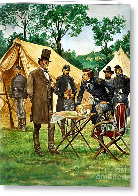 Abraham Lincoln Plans His Campaign During The American Civil War  Greeting Card by Peter Jackson