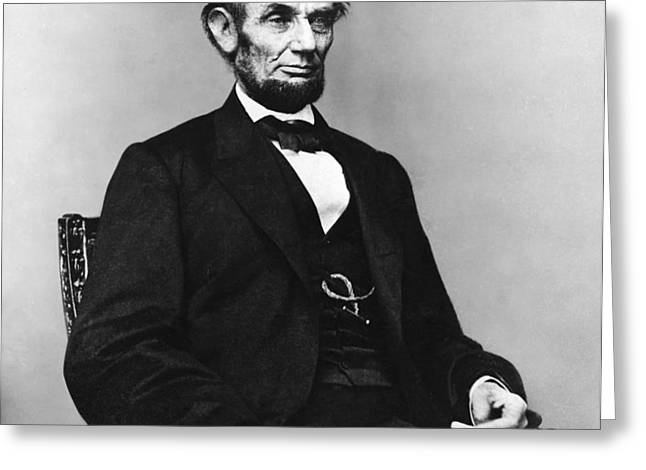 Abraham Lincoln portrait - used for the five dollar bill - c 1864 Greeting Card by International  Images