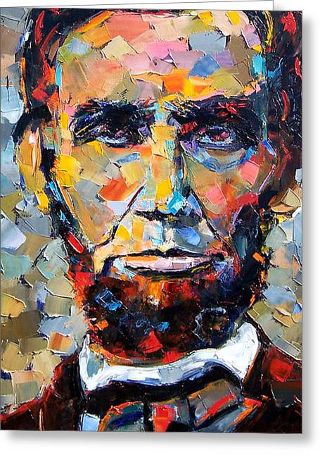Best Sellers -  - Impressionist Greeting Cards - Abraham Lincoln portrait Greeting Card by Debra Hurd