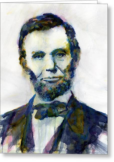 Abraham Paintings Greeting Cards - Abraham Lincoln Portrait Study 2 Greeting Card by Hailey E Herrera