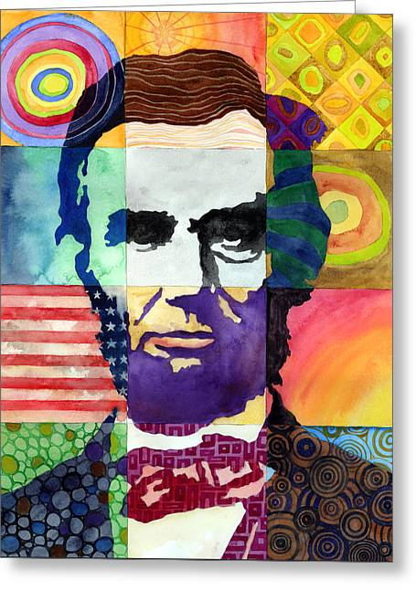 Abraham Paintings Greeting Cards - Abraham Lincoln Portrait Study Greeting Card by Hailey E Herrera