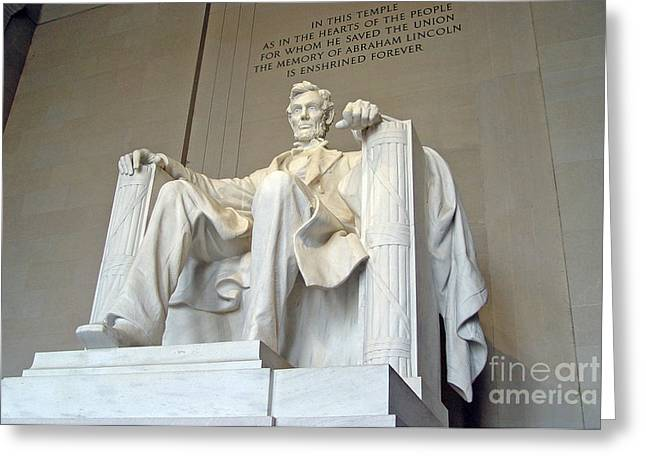 Four Score Greeting Cards - Abraham Lincoln Statue - 1 Greeting Card by Tom Doud