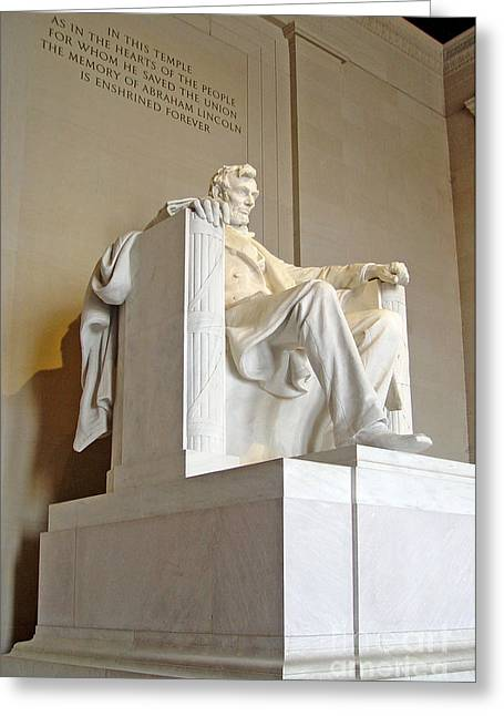 Four Score Greeting Cards - Abraham Lincoln Statue - 3 Greeting Card by Tom Doud