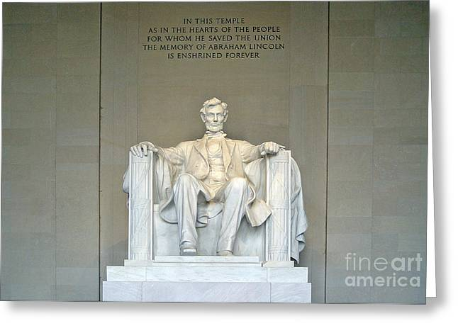 Four Score Greeting Cards - Abraham Lincoln Statue Greeting Card by Tom Doud