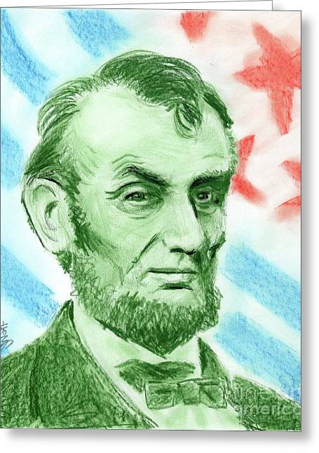 Human Rights Leader Greeting Cards - Abraham Lincoln  Greeting Card by Yoshiko Mishina
