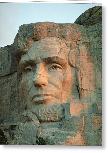 Gutzon Greeting Cards - Abraham Lincolns Face On Mount Rushmore Greeting Card by Joel Sartore