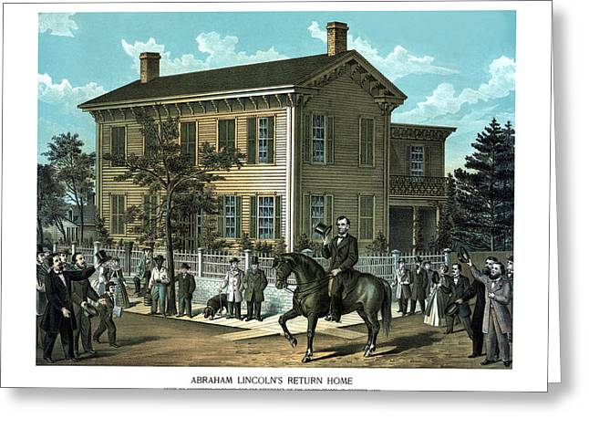 Abraham Paintings Greeting Cards - Abraham Lincolns Return Home Greeting Card by War Is Hell Store