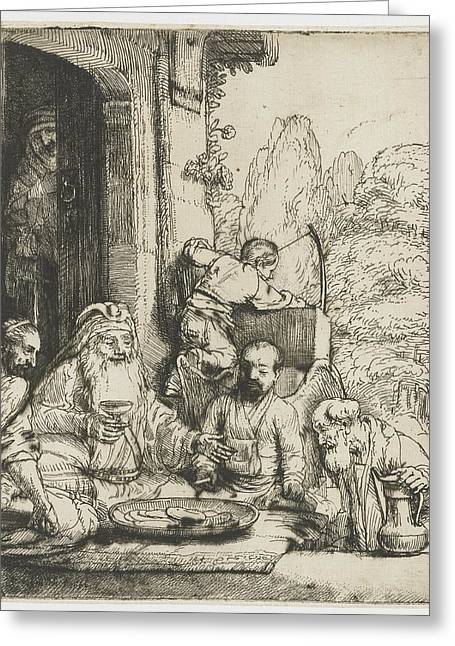 1656 Greeting Cards - Abraham welcomes the angels Greeting Card by Rembrandt Harmensz van Rijn