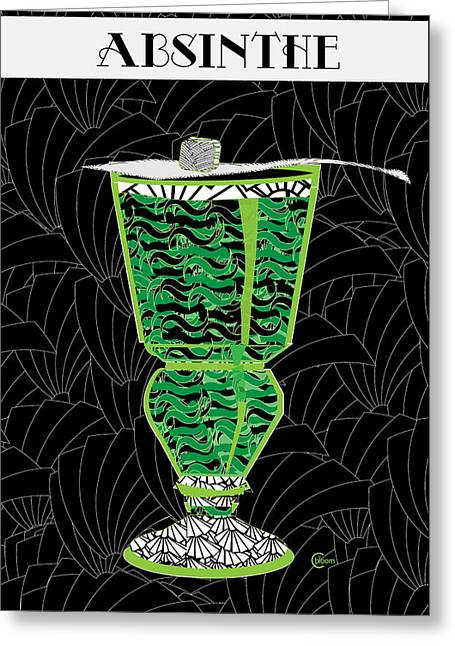 Absinthe Cocktail Art Deco Swing Greeting Card by Cecely Bloom