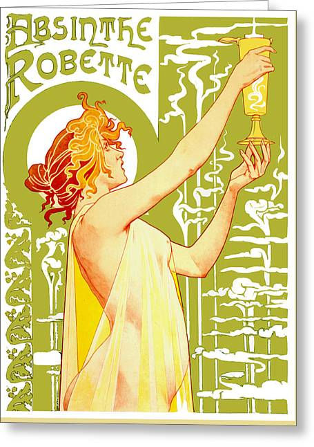 Booze Drawings Greeting Cards - Absinthe Robette - Vintage Bar Decor Greeting Card by Just Eclectic