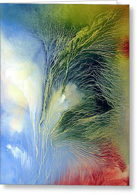 Heart Of Waterfalls Greeting Cards - Abstract 1 Greeting Card by Sevan Thometz
