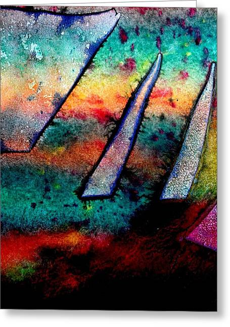 Monoprint Greeting Cards - Abstract 32 Greeting Card by John  Nolan
