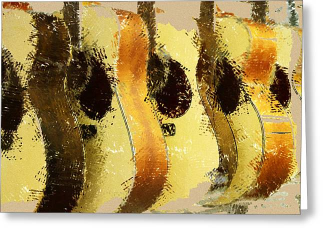 Abstract Acoustic Guitars Greeting Card by David G Paul