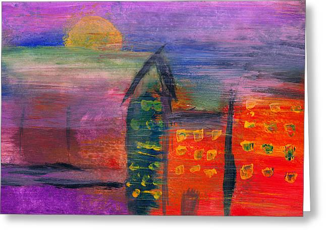 Modernism Greeting Cards - Abstract - Acrylic - Lost in the city Greeting Card by Mike Savad