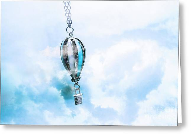 Abstract Air Baloon Hanging On Chain Greeting Card by Jorgo Photography - Wall Art Gallery