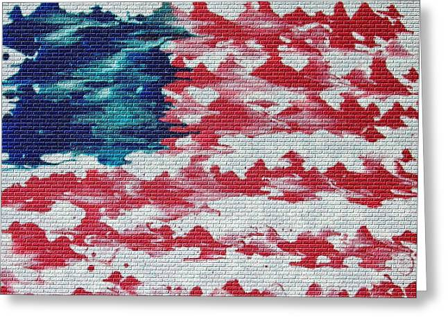 Abstract American Flag  Greeting Card by Brian Roberts