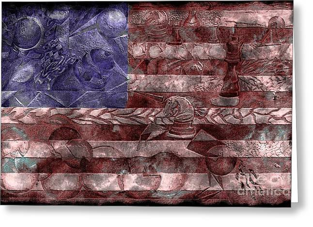 Chess Piece Drawings Greeting Cards - Abstract American Flag II Greeting Card by J M Lister
