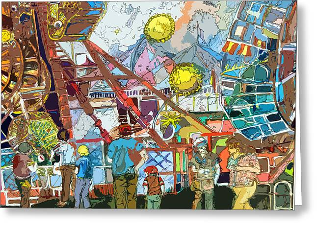 Amusements Mixed Media Greeting Cards - Abstract Amusement Park Greeting Card by Mindy Newman