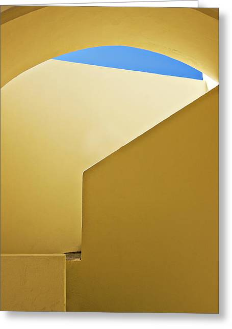 Abstract Architecture In Yellow Greeting Card by Meirion Matthias