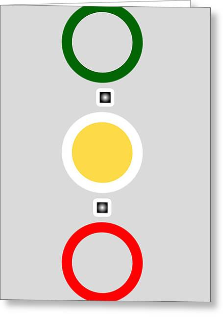 Green And Yellow Abstract Greeting Cards - Abstract Art - Connecting Circles - Green Yellow and Red Greeting Card by Adam Asar