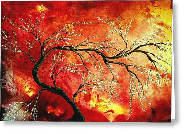 Crimson Greeting Cards - Abstract Art Floral Tree Landscape Painting FRESH BLOSSOMS by MADART Greeting Card by Megan Duncanson