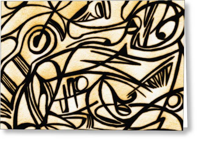 Abstract Art Gold 2 Greeting Card by Sumit Mehndiratta