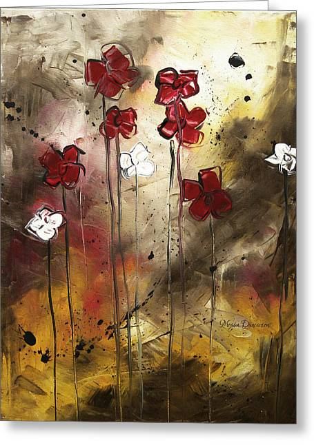 Abstract Style Greeting Cards - Abstract Art Original Flower Painting FLORAL ARRANGEMENT by MADART Greeting Card by Megan Duncanson