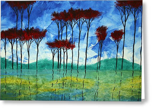 Abstract Art Original Landscape Painting Reflective Beauty By Madart Greeting Card by Megan Duncanson