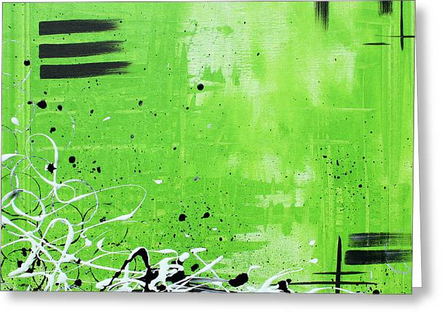 Pulitzer Greeting Cards - Abstract Art Original Painting GREEN DREAMS by MADART Greeting Card by Megan Duncanson