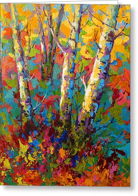Leaves Paintings Greeting Cards - Abstract Autumn II Greeting Card by Marion Rose