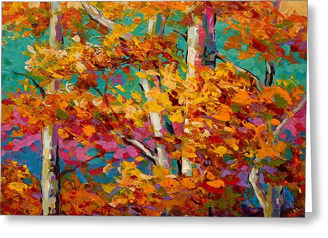 Fall Trees Greeting Cards - Abstract Autumn III Greeting Card by Marion Rose