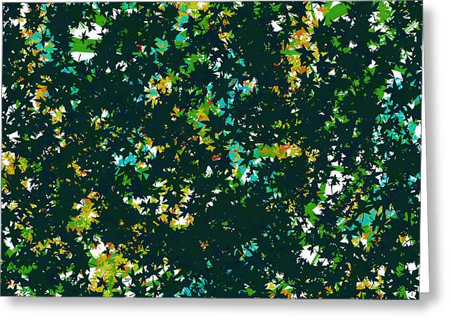 Green Leafs Tapestries - Textiles Greeting Cards - Abstract Background Greeting Card by Elena Samoilova