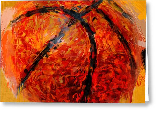 Basketball Abstract Greeting Cards - Abstract Basketball Greeting Card by David G Paul