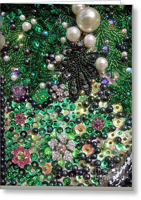 Abstract Beadwork, Sequin Bead Embroidery 11 Greeting Card by Sofia Metal Queen