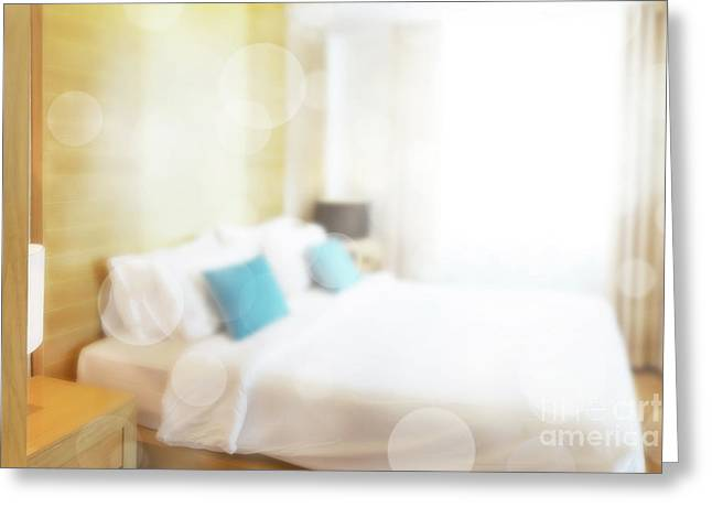 Abstract Bedroom Greeting Card by Atiketta Sangasaeng