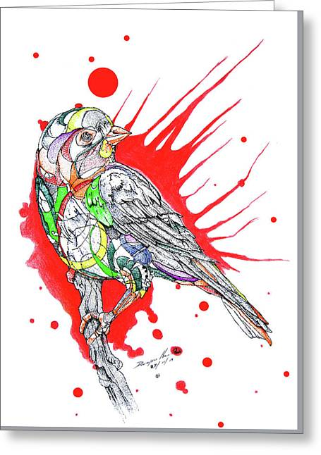 Abstract Bird 002 Greeting Card by Dwayne  Hamilton