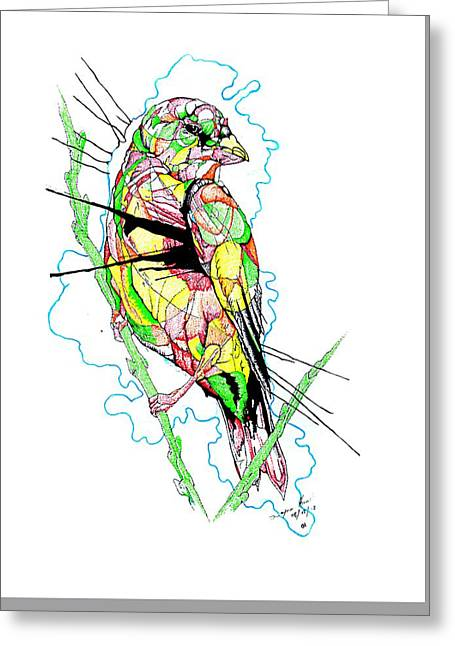 Abstract Bird 01 Greeting Card by Dwayne  Hamilton