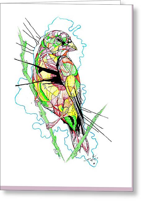 Pen Greeting Cards - Abstract Bird 01 Greeting Card by Dwayne  Hamilton