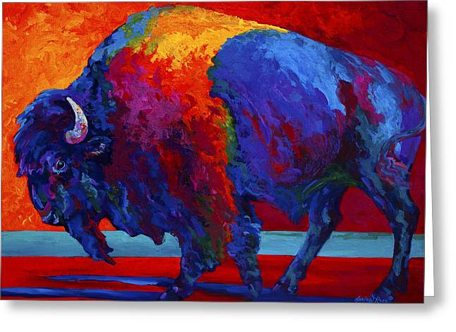 Buffalo Greeting Cards - Abstract Bison Greeting Card by Marion Rose