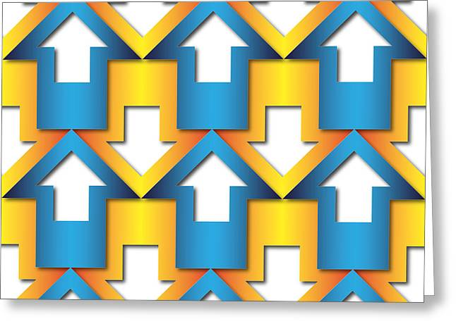 Corporate Tapestries - Textiles Greeting Cards - Abstract Blue And Orange  Arrows Pattern Greeting Card by Jozef Jankola