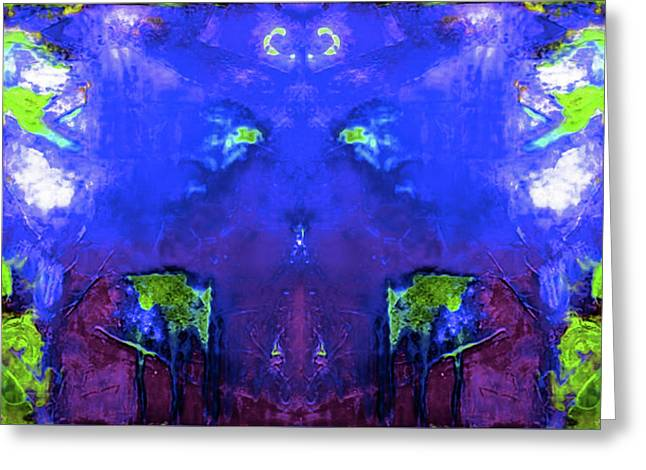 Abstract Blue Peace By Nixo Greeting Card by Nicholas Nixo