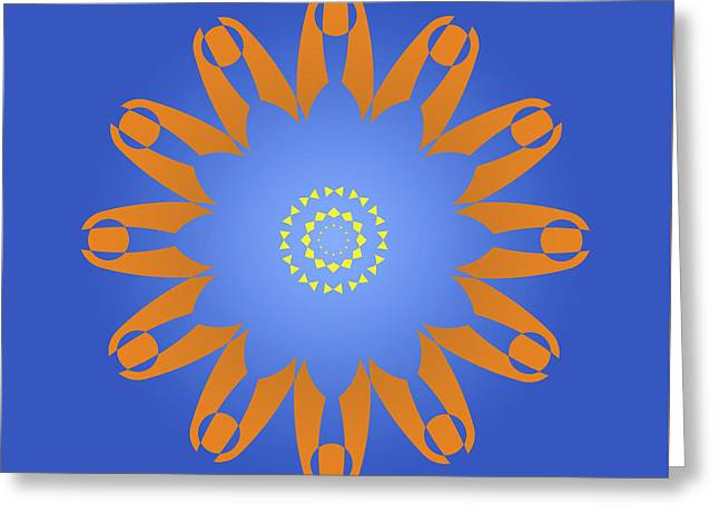 Abstract Blue Square, Orange And Yellow Star Greeting Card by Pablo Franchi