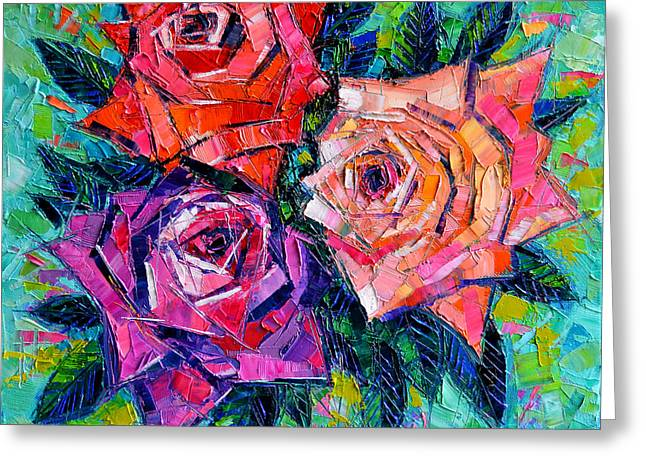Abstract Bouquet Of Roses Greeting Card by Mona Edulesco