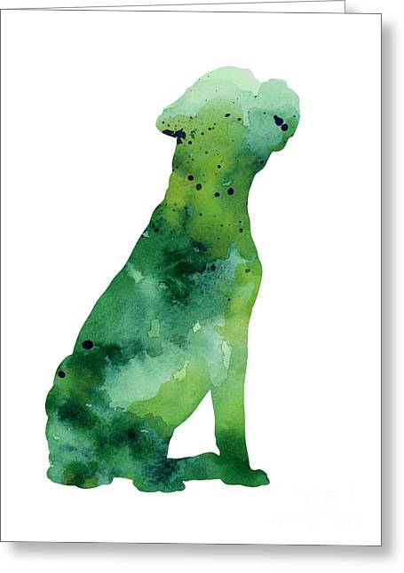 Boxer Abstract Art Greeting Cards - Abstract boxer silhouette watercolor art print painting Greeting Card by Joanna Szmerdt