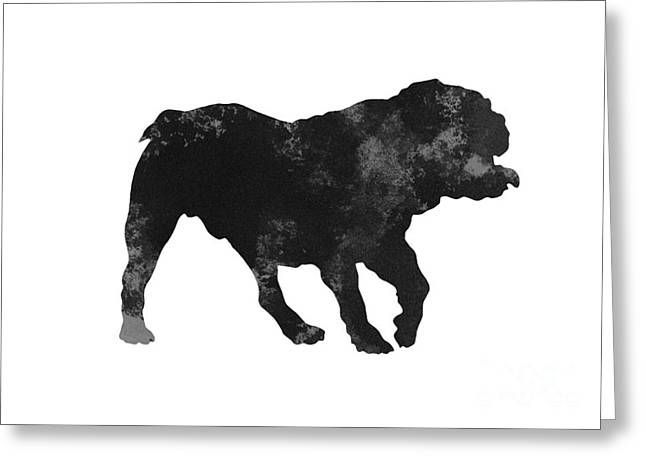 Abstract Brithish Bulldog Minimalist Painting Greeting Card by Joanna Szmerdt