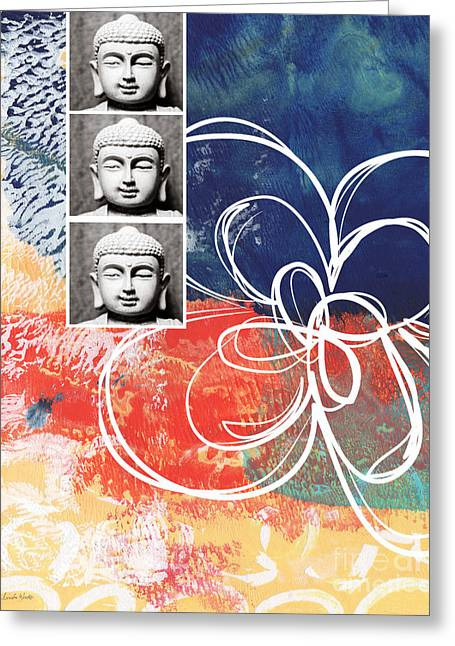 Religious Mixed Media Greeting Cards - Abstract Buddha Greeting Card by Linda Woods