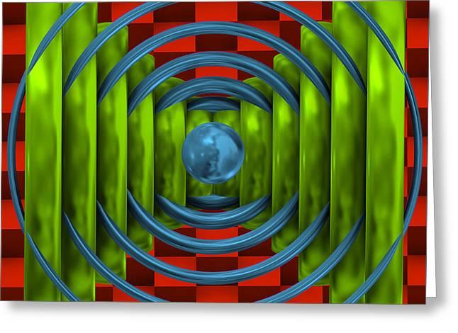 Abstract Shapes Greeting Cards - Abstract circles with ball Greeting Card by Alberto  RuiZ