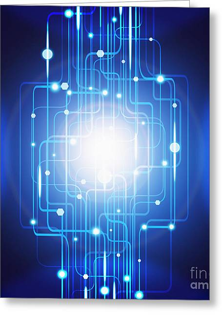 Blue Abstract Art Greeting Cards - Abstract Circuit Board Lighting Effect  Greeting Card by Setsiri Silapasuwanchai