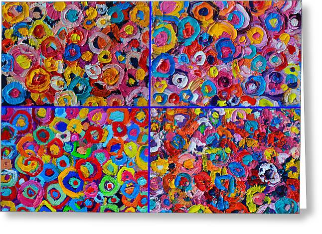 Abstract Expression Greeting Cards - Abstract Colorful Flowers 4 Greeting Card by Ana Maria Edulescu